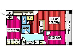 ドゥーエ仙台イースト 12階2LDKの間取り