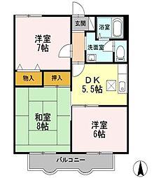 東京都練馬区東大泉6丁目の賃貸アパートの間取り