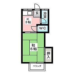 大橋コーポ[2階]の間取り