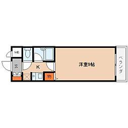 奈良県桜井市谷の賃貸マンションの間取り