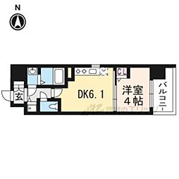 アスヴェル京都太秦212 2階1DKの間取り