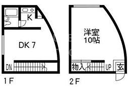 B-LOCK神楽岡[2-A号室号室]の間取り