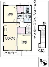 ミルトフリーデ II[2階]の間取り