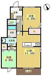 アミティーハウス2[1階]の間取り