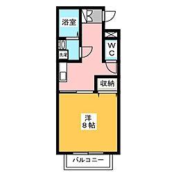 和雅家 壱番館 2階1Kの間取り