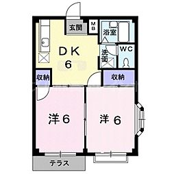 香川県高松市国分寺町柏原の賃貸アパートの間取り