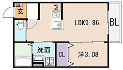 大阪府東大阪市御厨東1丁目の賃貸アパートの間取り