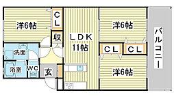 リノスタイル姫路北条[205号室]の間取り
