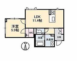 仮)ベレオ古川南 1階1LDKの間取り