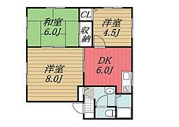 千葉県印西市木下東2丁目の賃貸アパートの間取り
