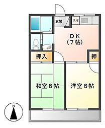 神奈川県川崎市宮前区東有馬1丁目の賃貸アパートの間取り