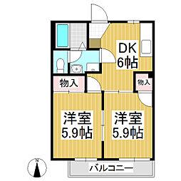 ハイタウンウエハラB 2階2DKの間取り