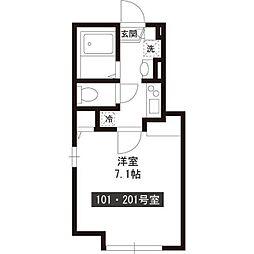 新築パークアレイ笹塚 2階1Kの間取り