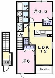 東京都昭島市美堀町2丁目の賃貸アパートの間取り