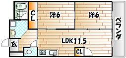 福岡県北九州市八幡西区東折尾町の賃貸マンションの間取り