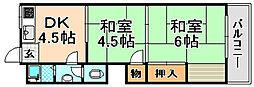 兵庫県伊丹市北園3丁目の賃貸マンションの間取り