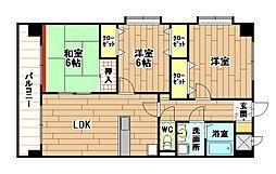 福岡県北九州市小倉南区上葛原1丁目の賃貸マンションの間取り