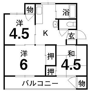 間取り,3DK,面積56m2,賃料3.8万円,,,香川県丸亀市飯山町東坂元2-15
