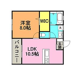 ハウス櫛原 1階1LDKの間取り