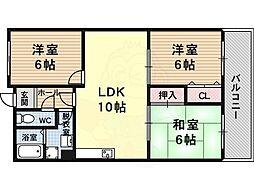 近鉄大阪線 堅下駅 徒歩10分の賃貸マンション 2階3LDKの間取り