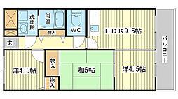 アルモニー東今宿[103号室]の間取り