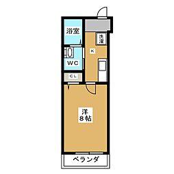 MESA VERDE 紫竹 2階1Kの間取り