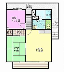 茨城県古河市常盤町の賃貸アパートの間取り