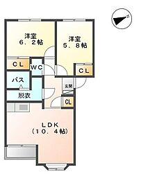 コーポラフォーレA[2階]の間取り