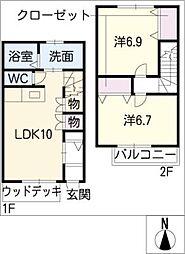 [タウンハウス] 愛知県岡崎市稲熊町字6丁目 の賃貸【/】の間取り