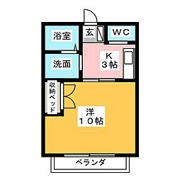 モアハウス磐田 2階1Kの間取り