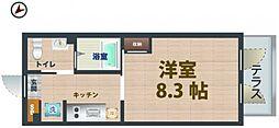 東京メトロ丸ノ内線 中野新橋駅 徒歩6分の賃貸マンション 1階1Kの間取り