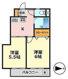 メゾン桜井[203号室]の間取り