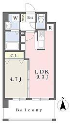 ランドマーク原 3階1LDKの間取り