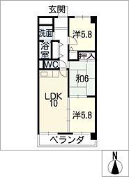 ティアラK[2階]の間取り