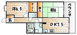 トーカンマンション中到津[8階]の間取り