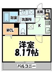 JR仙石線 陸前原ノ町駅 徒歩8分の賃貸マンション 2階1Kの間取り
