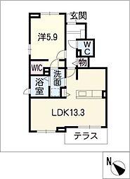 プラシード B棟[1階]の間取り