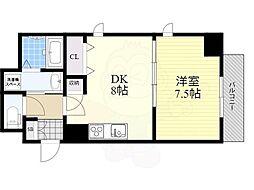 Osaka Metro堺筋線 北浜駅 徒歩7分の賃貸マンション 2階1DKの間取り