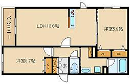 近鉄大阪線 法善寺駅 徒歩1分の賃貸マンション 1階2LDKの間取り