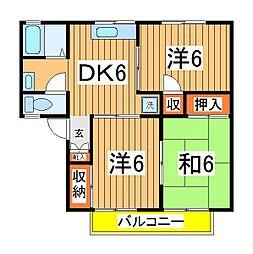 パールハイツ吉田22[2階]の間取り