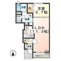 名鉄名古屋本線 奥田駅 徒歩7分の賃貸アパート 1階1LDKの間取り