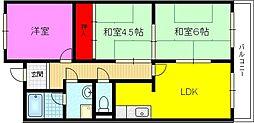 大阪府大東市灰塚2丁目の賃貸マンションの間取り
