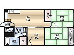天保山第三コーポ 2階2SLDKの間取り