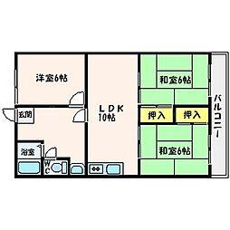 ベルメゾン山田 2階3LDKの間取り