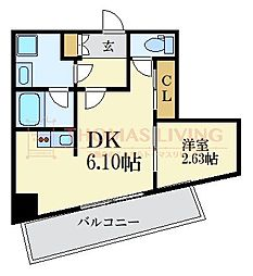 MODERN PALAZZO KEGO SUN 9階1DKの間取り