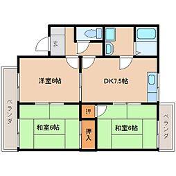 奈良県奈良市朱雀5丁目の賃貸アパートの間取り