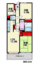 大橋南公園パークマンション[2階]の間取り