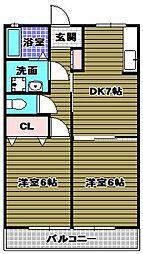 パラシオ北野田 2階2DKの間取り