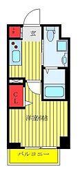 東武東上線 下板橋駅 徒歩2分の賃貸マンション 7階ワンルームの間取り