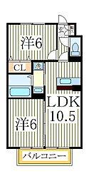 ヴァンテkoda[2階]の間取り